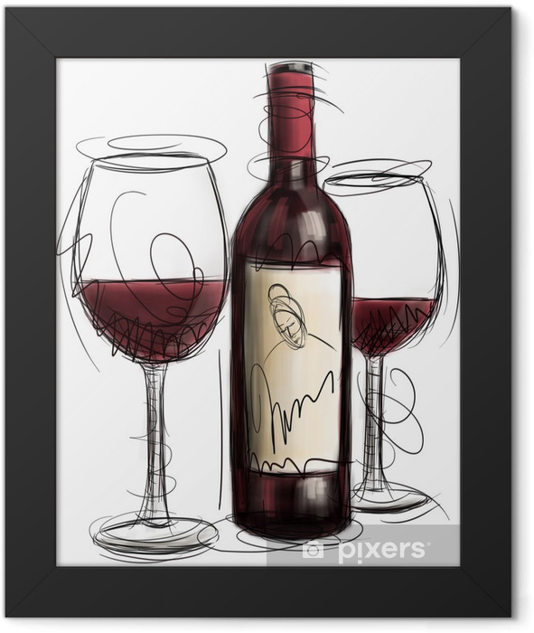 Wine Bottle and Glasses Framed Poster - Alcohol