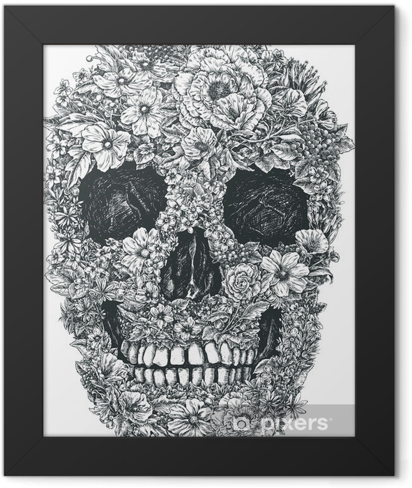 Flower Skull Vector Framed Poster - Lifestyle