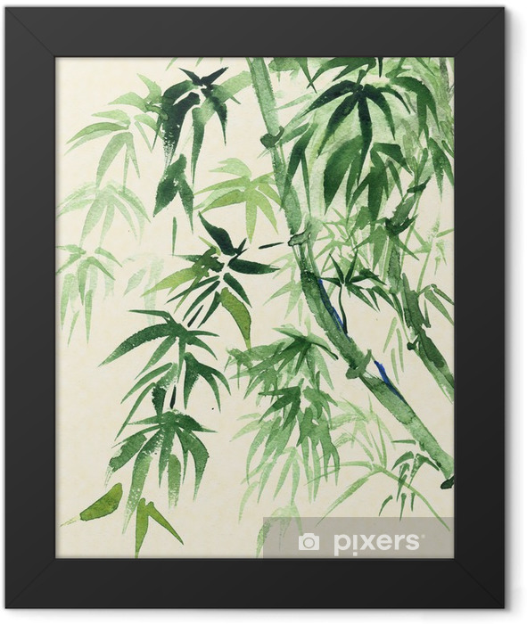 Green Bamboo, painted in watercolor in oriental style Framed Poster - Themes