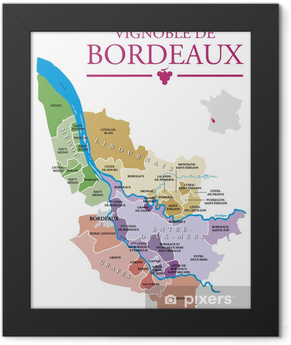 Vignoble de Bordeaux Framed Poster - Alcohol