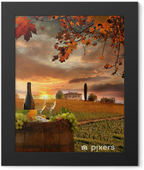 White wine with barell in vineyard, Chianti, Tuscany, Italy Framed Poster - Themes