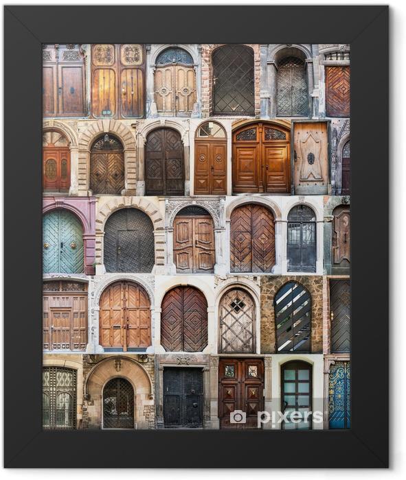 Plakat w ramie Kolaż zdjęć starych drzwi - Miasta europejskie