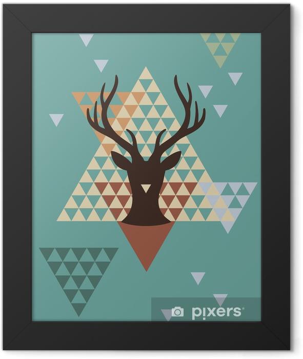 Ingelijste Poster Kerst hert met geometrisch patroon, vector - Thema's