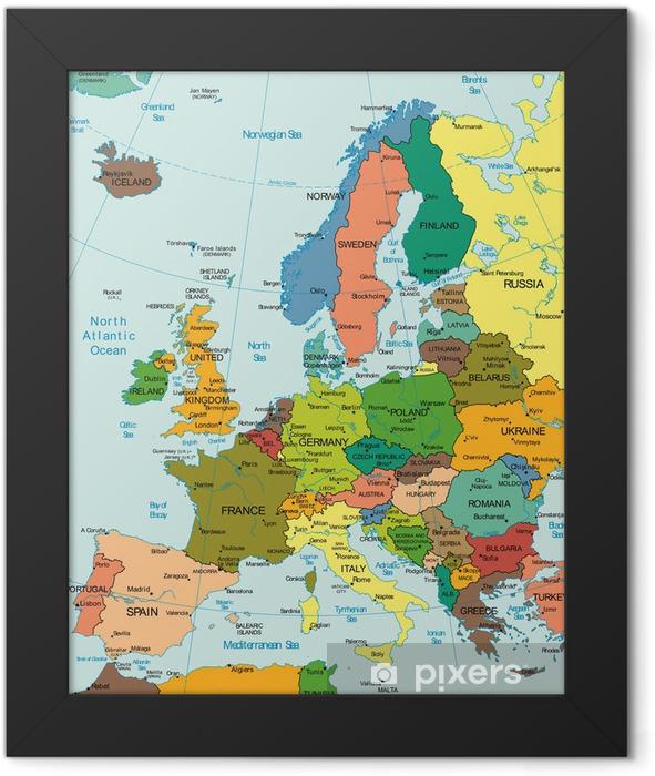 Plakat w ramie Świat Ziemia Kontynent Europa map Kraj - Tematy