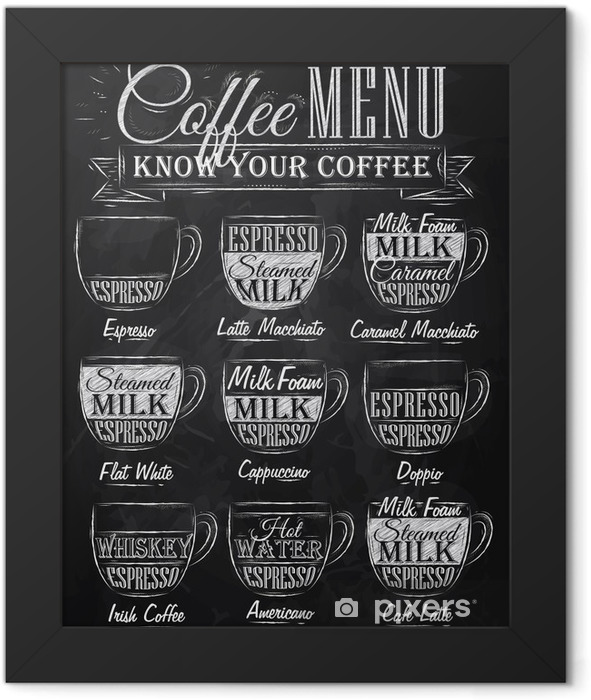 Set of coffee menu with a cups of coffee chalk Framed Poster - Cafe