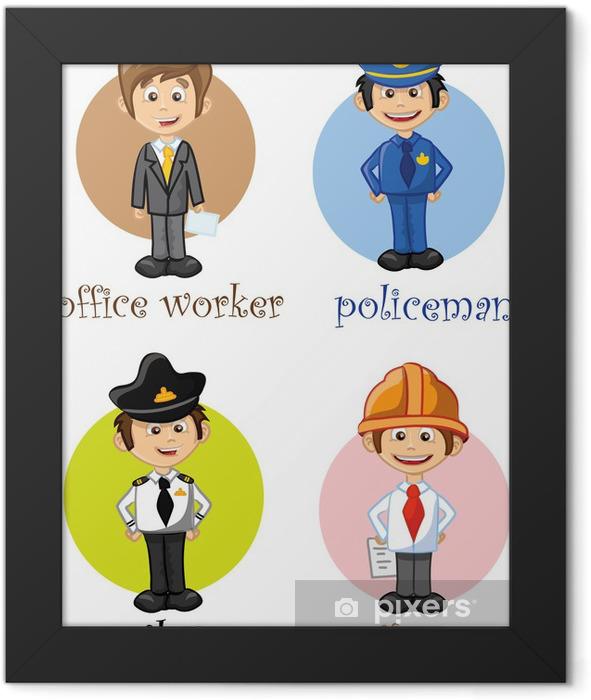 Герои мультфильмов разных профессий Framed Poster - Groups and Crowds