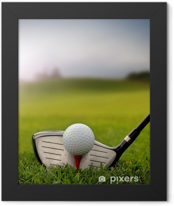 Golf club and ball in grass Framed Poster - Golf