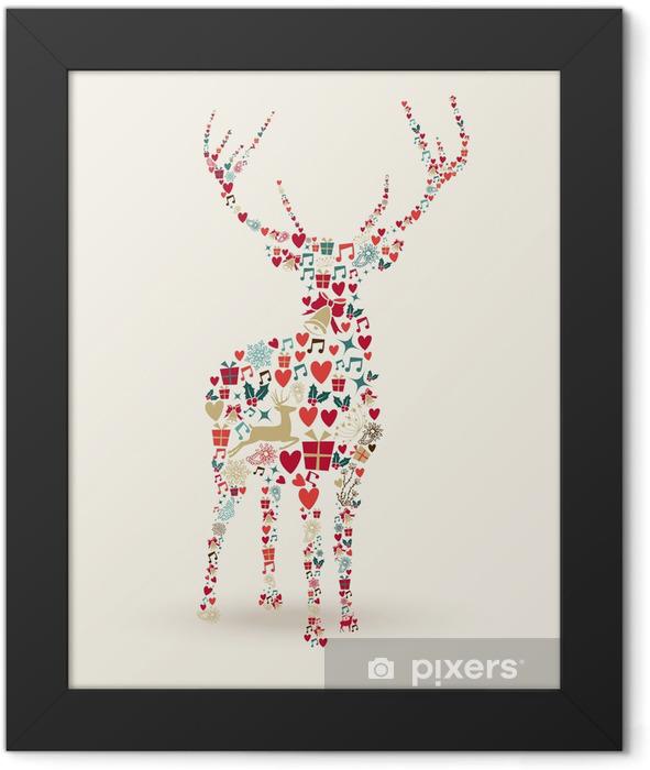 Ingelijste Poster Merry Christmas herten illustratie - Internationale Vieringen