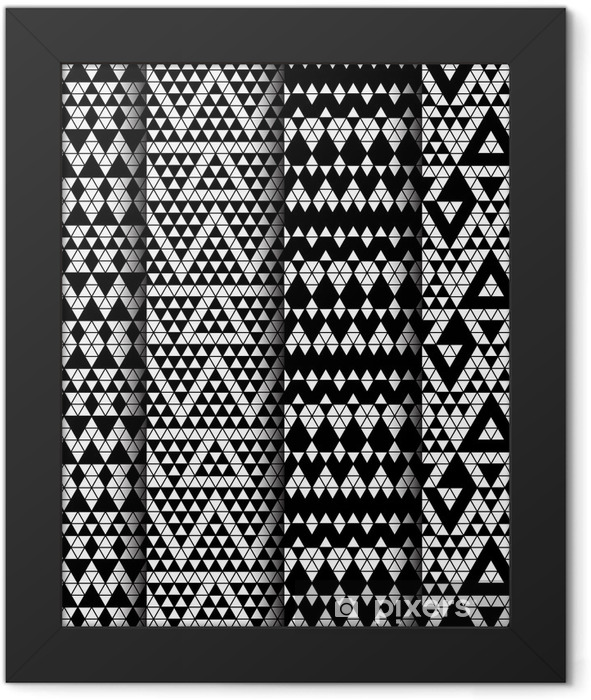 Tribal monochrome lace patterns. Vector illustration. Framed Poster - Art and Creation