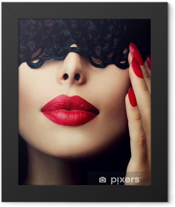 Beautiful Woman with Black Lace Mask over her Eyes Framed Poster - Lips