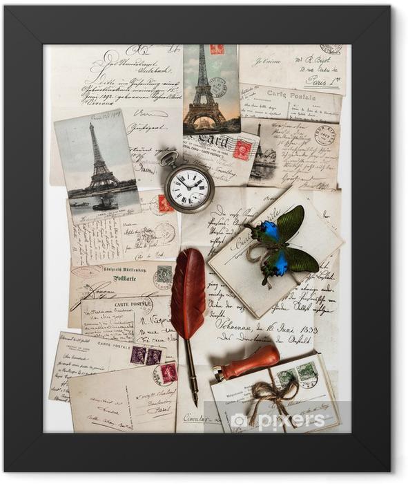 Plakat w ramie Stare listy, akcesoria i karty pocztowe. Pojęcie podróży - Style