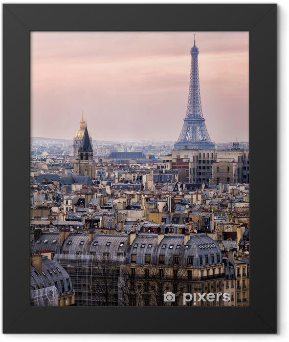 Ingelijste Poster Uitzicht over Parijs en de Eiffeltoren van Boven - Thema's