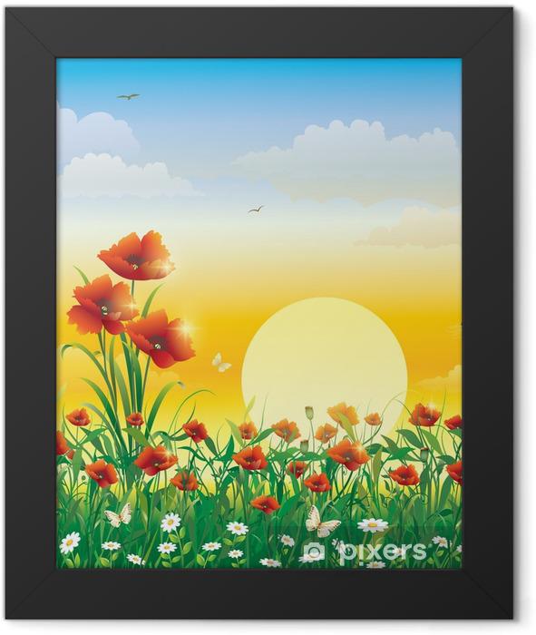 Poster en cadre Champ de fleurs sur un fond de l'aube solaire - Thèmes