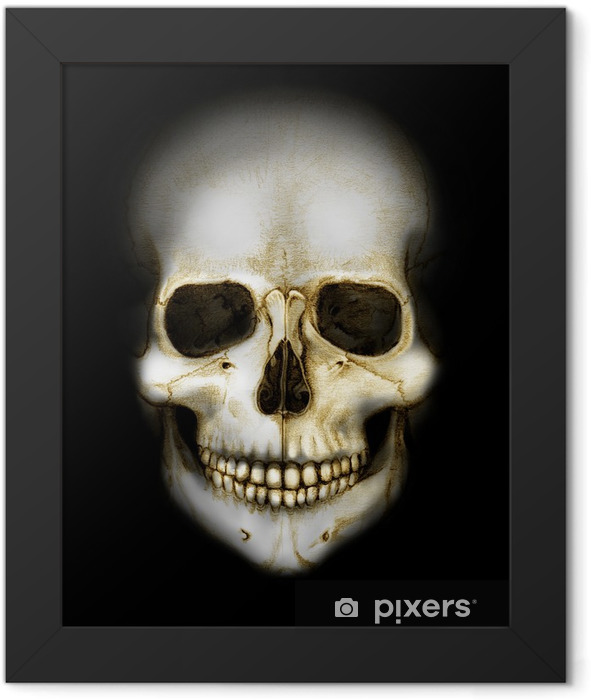 skull in the darkness colored Framed Poster - Other Feelings