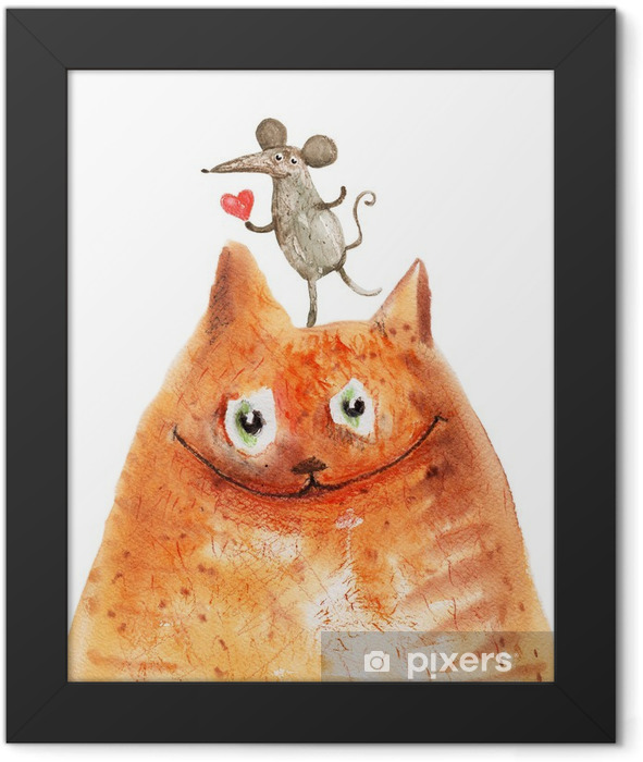 cat with mause Framed Poster - Emotions & Feelings