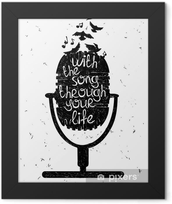 Plakat w ramie Ręcznie rysowane ilustracji muzycznej z sylwetką mikrofonu. - Hobby i rozrywka