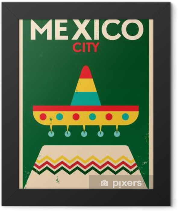 Mexico Vintage Poster Design Framed Poster - Buildings and Architecture