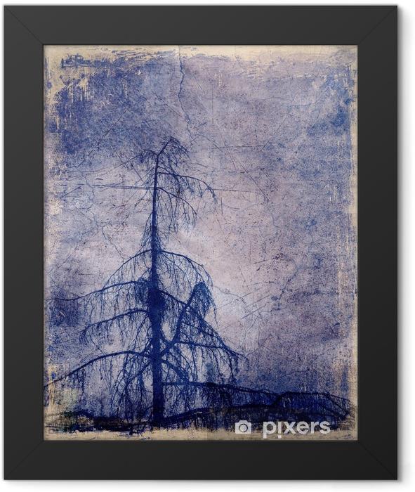 Plakat w ramie Grunge tła z drzewa modrzewiowego - Rośliny i kwiaty