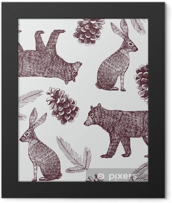 hand drawn winter trendy seamless background Framed Poster - International Celebrations