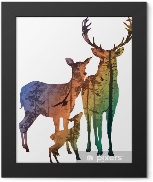 Plakat w ramie Rodziny jeleniowatych - Lasy