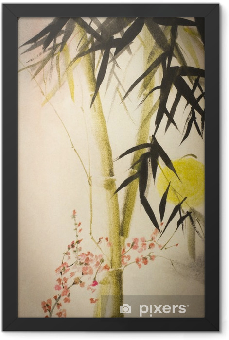 Sun bamboo and plum branch Framed Poster - Plants and Flowers