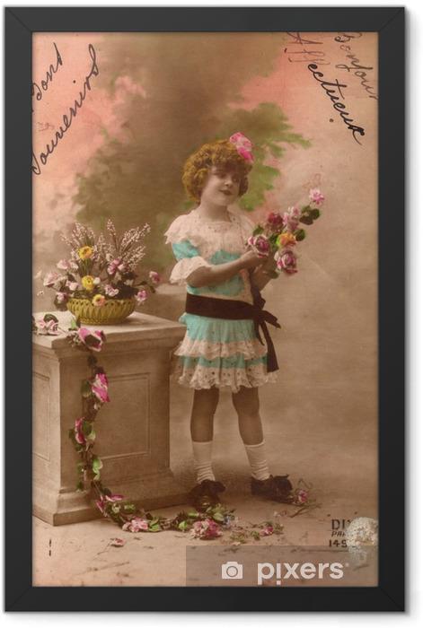 Plakat w ramie Francuski antyczny archiwalne pocztówki dziewczynka. - Zasoby graficzne