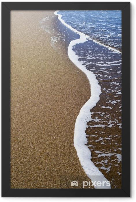 Soft wave of blue ocean on sandy beach. Background. Framed Poster - Landscapes