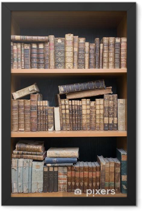 Plakat w ramie Stare książki na półce - Edukacja