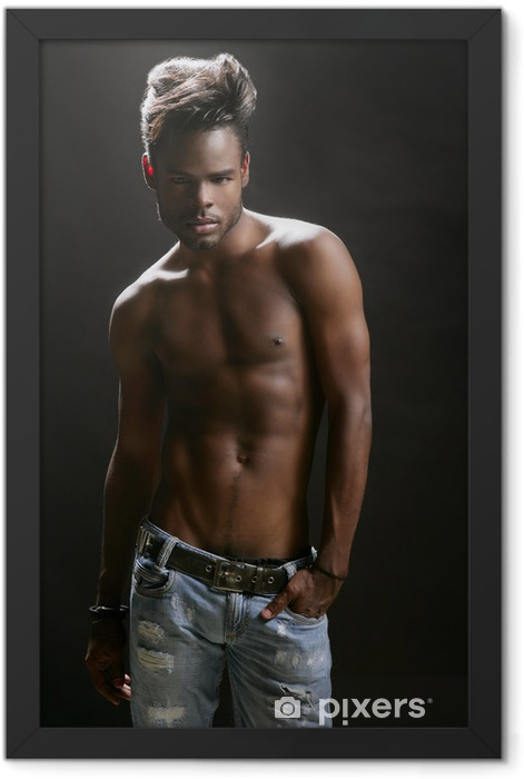 African american nude torso black sexy man Framed Poster - Themes