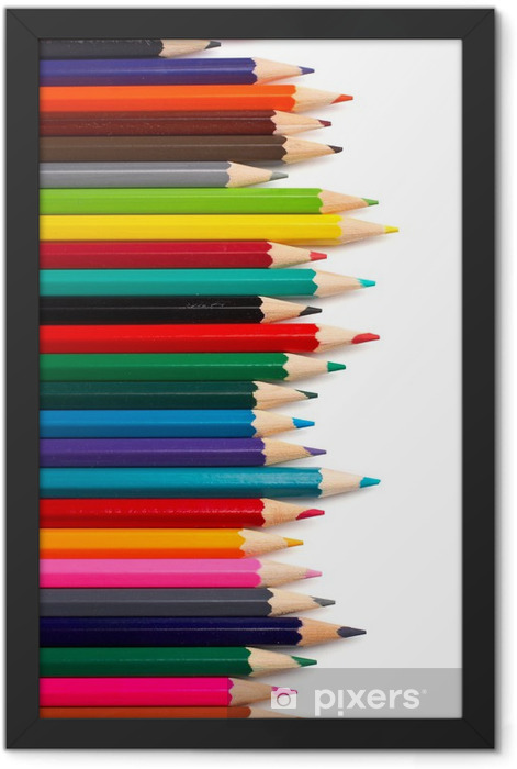assortment of coloured pencils Framed Poster - Wall decals