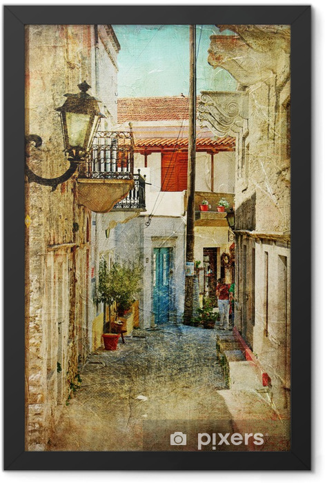 Ingelijste Poster Oude Griekse straten-artistieke foto -