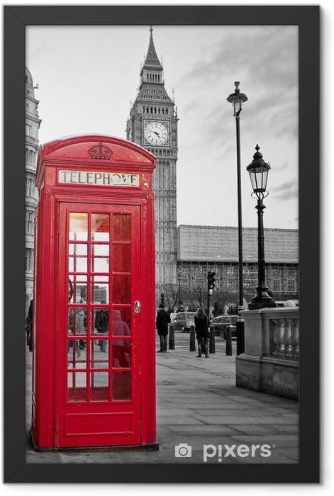 Plakat w ramie Czerwona budka telefoniczna w Londynie z Big Ben w czerni i bieli -