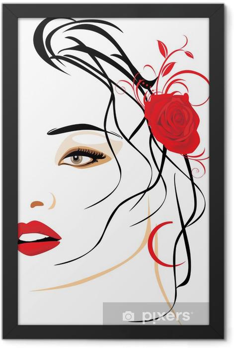 Poster en cadre Portrait d'une femme belle avec une rose rouge dans les cheveux - Thèmes