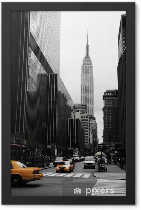 Plakat w ramie Emipre State Building i żółty, Manhattan, New York -