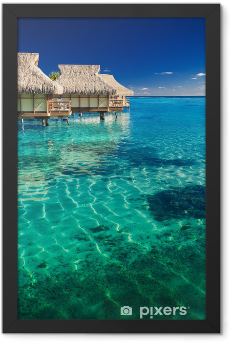 Water villas over tropical reef Framed Poster - Beach and tropics