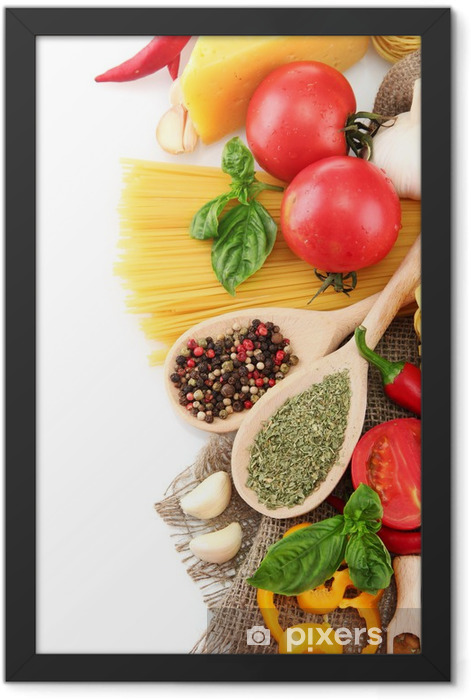 Pasta spaghetti, vegetables and spices, isolated on white Framed Poster - Themes