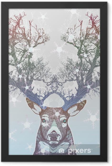 Frozen tree horn deer Framed Poster -