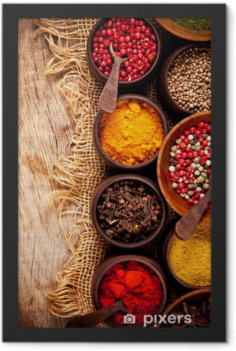Plakat w ramie Różnego rodzaju przypraw w drewniane miski - Tematy