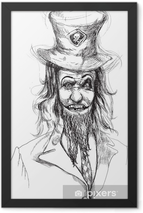 Portrait of an undead (zombie, scary clown ...) , hand drawing Framed Poster - Esoteric