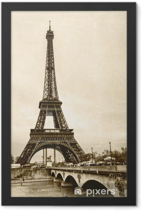 La tour eiffel sépia effet ancienne photo carte postale Framed Poster - Styles