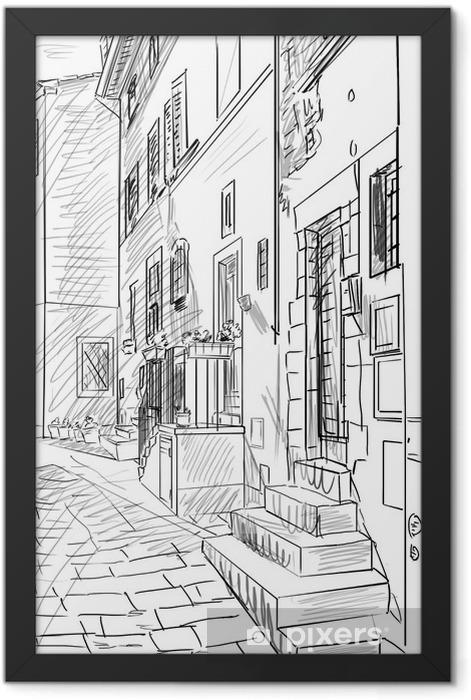 Plakat w ramie Starych budynków w włoskim mieście typowej średniowiecznej - ilustracja - Tematy