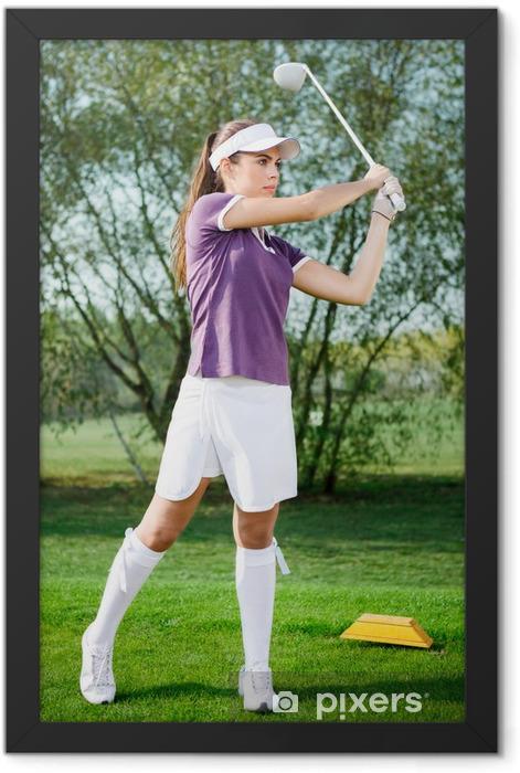 Girl golfer hitting the ball Framed Poster - Themes