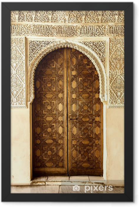 A door decorated in arabic style in La Alhambra, Granada, Spain. Framed Poster - Art and Creation