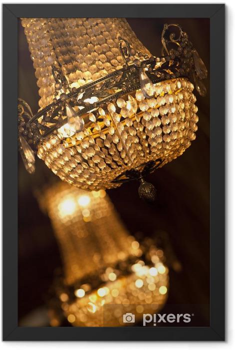 Lustre, luminaire, lumière, cristal, pampilles, verre, luxe Framed Poster - Success and Achievement