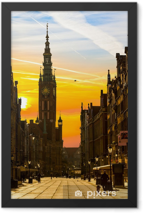 Old Town of Gdansk with City Hall in the morning. Framed Poster - Themes