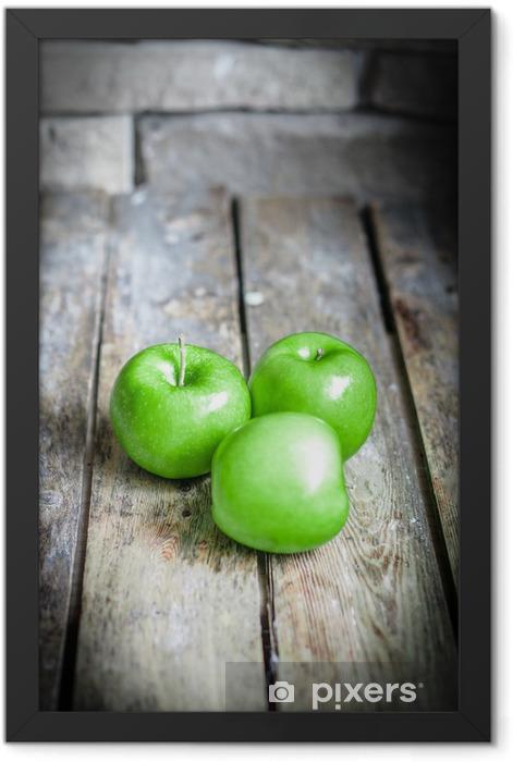 Fresh farm raised apples on rustic wooden background Framed Poster - Fruit