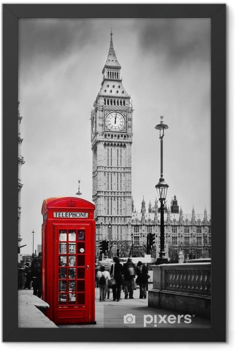 Plakat w ramie Czerwona budka telefoniczna i Big Ben w Londynie, Anglii, Wielkiej Brytanii -