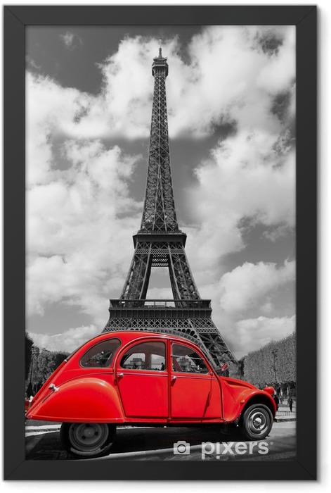 Plakat w ramie Wieża Eiffla z czerwonym starym samochodem w Paryżu, Francja -