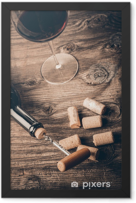 Bottle of wine with corkscrew on wooden background Framed Poster - Themes