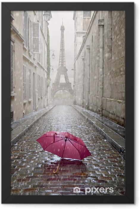 Romantic alley on a rainy day. Framed Poster - Themes